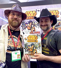 Author Adam Bray with Lucasfilm's Dave Filoni, Executive Producer of Star Wars Rebels, at San Diego Comic-Con
